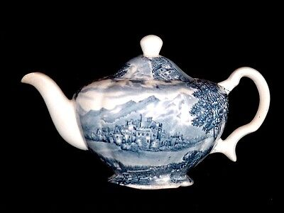 Wood and Sons Burslem WESTMORELAND Teapot Blue and White Castle Hand Engraved