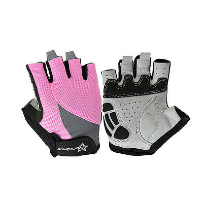 RockBros Women Girl Half Finger Cycling Bike Gloves Short Finger Pink