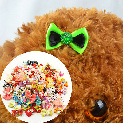 10 Pcs Random Grooming Accessories Hair Flower Bows For Dogs Hair Ring