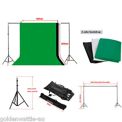 Fotografico Set Foto Stativo Kit Sfondo Fondale Background BIANCO VERDE NERO
