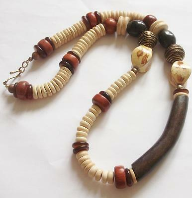 Big Vintage 1960's Brown Wooden Chunky Tribal Beads Beaded Necklace