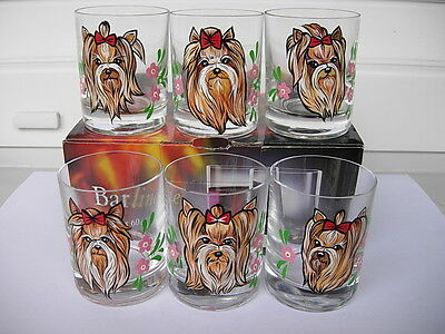 6 Yorkshire Terrier Handpainted Glass  Goblets