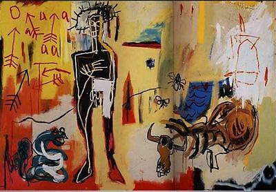 Jean Michel Basquiat Poison Oasis Abstract HUGE Oil Painting on Canvas 24x36""