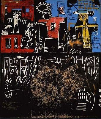 """Jean Michel Basquiat Oil Painting on Canvas Black Tar and Feat 24x30"""""""