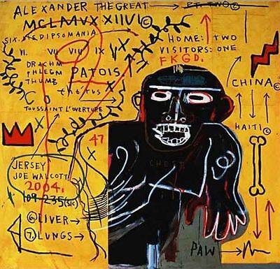 Jean Michel Basquiat Oil Painting on Canvas All Colored Cast Abstract 24x24""