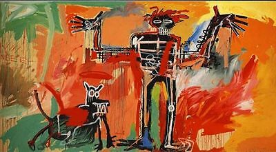 Jean Michel Basquiat Oil Painting on Canvas Boy and Dog in a Johnnypump 20x40""