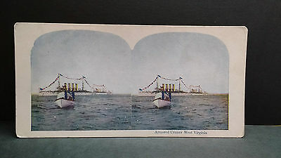 Antique Stereoview Card 1907 View of an Armored Cruiser in West Virginia
