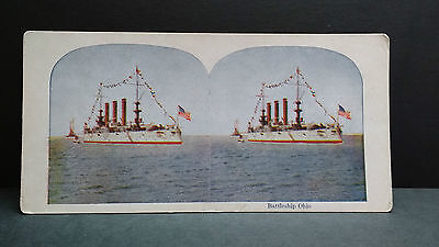 Antique Stereoview Card 1901 View of the Battleship of Ohio
