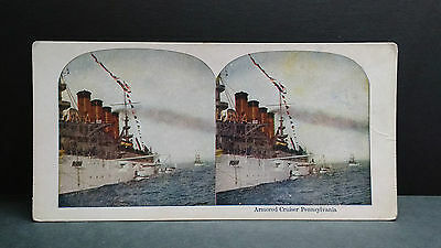 Antique Stereoview Card 1907 View of Armored Cruiser Pennsylvania
