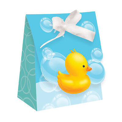 Baby Shower, Rubber Duck Bath Theme, 12 x Party Favor Bags With Ribbon