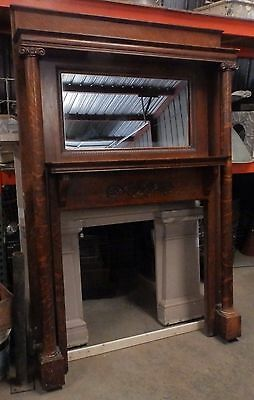 Large Antique Oak Fireplace Mantel Mirror Corbels Columns Capitols Vtg 515-16