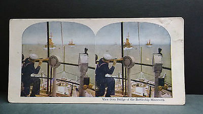 Antique Stereoview Card View from Bridge of the Battleship Minnesota