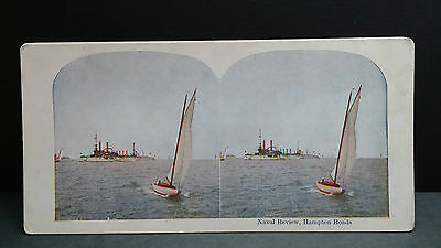 Antique Stereoview Card 1907 View of Naval Review, Hampton Roads