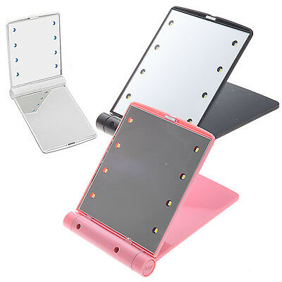 LED Pocket makeup mirror foldable with lights cosmetic - Black WD