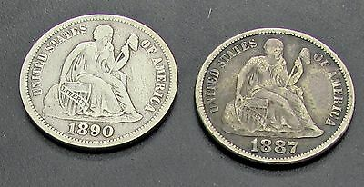 "1887 1890 Seated Liberty Dimes Full Hand "" Liberty "" Pair Lot of 2 Nice Coins"