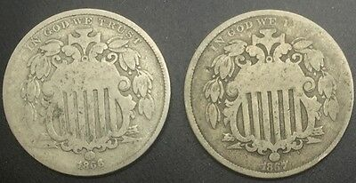 Shield Nickel Pair With Rays 1866 , 1867 nice coins