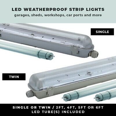 Led Weatherproof Strip Light 2Ft - 6Ft Non Corrosive Single Or Twin Garage Light