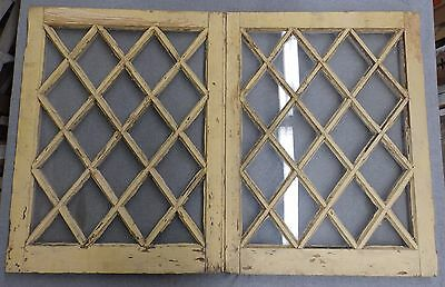 Pr Antique Casement Window Sash Diamond Cabinet Doors Shabby Cottage Chic 520-16