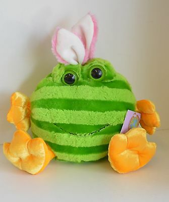 "NW PLUSH FROG Bunny Ears Large 10"" Green Striped Collect TOY Gift Yellow FEET"