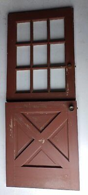 Vtg Solid Wood Dutch Door 9 Lite Top Old Shabby Cottage Exterior Entry 522-16