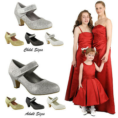 New Womens Ladies Girls Matching Adult And Child Wedding Bridesmaid Bridal Shoes