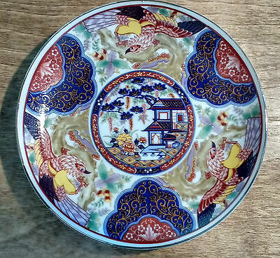 Vintage Imari Ware Japanese Plate Pagoda Birds Bright Colors Deep Blue Red