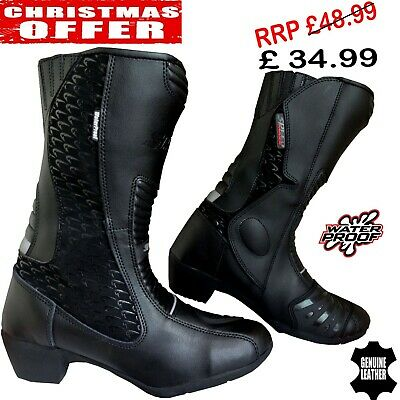 Ladies Black Hawk High Tech Motorbike Motorcycle Ce Racing Leather Shoes / Boots