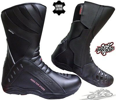 Speed Max High Tech Mens Motorbike Motorcycle Ce Touring Leather Shoes / Boots