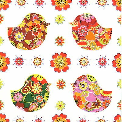4x Single Party Paper Napkins for Decoupage Decopatch Craft Birds with Flowers