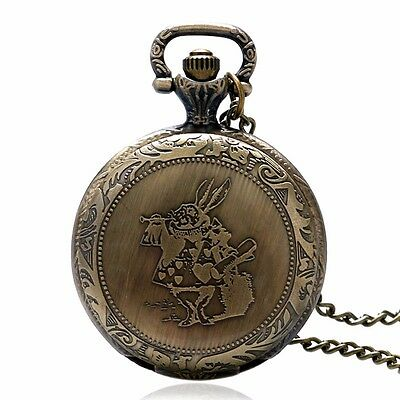 Alice In Wonderland MR.Rabbit Necklace Steampunk Bronze Quartz Pocket Watch Gift