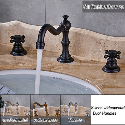 8-inch Widespread Bathroom Faucet Basin Mixing Tap Dual Cross Handles Long Spout