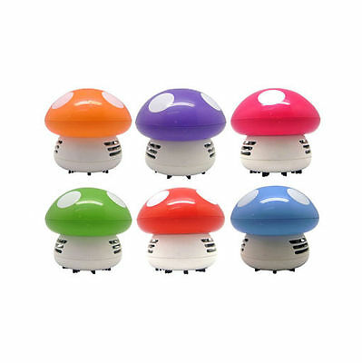 Ritzy Cute Mini Mushroom Corner Desk Table Dust Vacuum Cleaner Sweeper