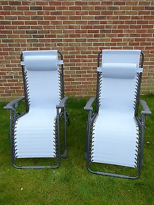Set of 2 Garden Chairs; Blue Sun Lounger Recliner Chair; Weatherproof Textoline
