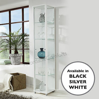 Bargain Single Door White Glass Display Cabinet Collectables Case Storage Unit