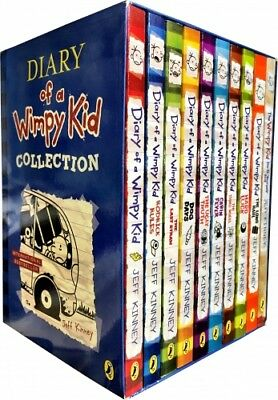 Diary of a Wimpy Kid 10 Books Boxed Set Collection Blue Hard Luck, Third Wheel..