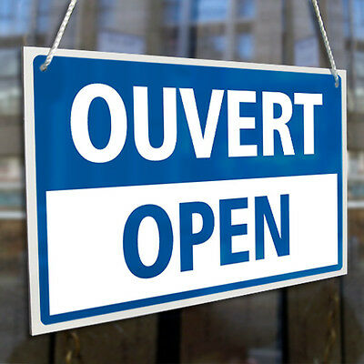 French & English Open & Closed Rigid Hanging Sign, Shop Window Door - Any Colour