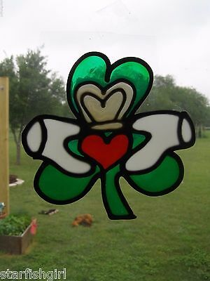 Claddagh Irish Heart Stained Glass Window Cling NEW Faux Stained Glass