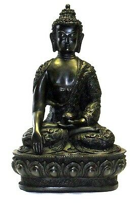 Sitting Buddha Stone Effect Garden Outoor Indoor Statue Ornament Thai Style 10cm