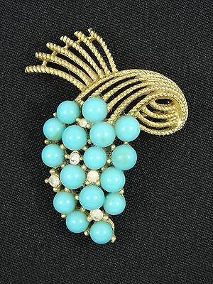 VINTAGE 60's CROWN TRIFARI ALFRED PHILIPPE JEWELED FAUX TURQUOISE PIN BROOCH