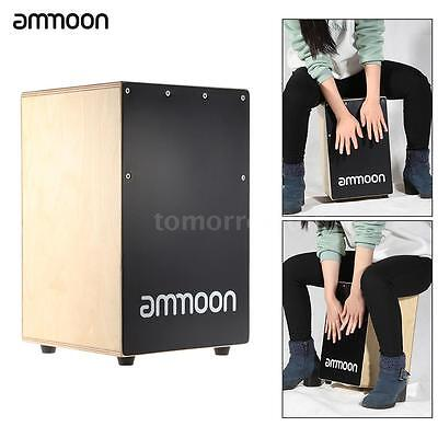 ammoon Cajon Hand Drum Persussion Box Drum Instrument w/Stings Rubber Feet N1C8