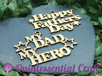 Wooden Happy Fathers Day Hero Hanging Sign Craft Blank Embellishment