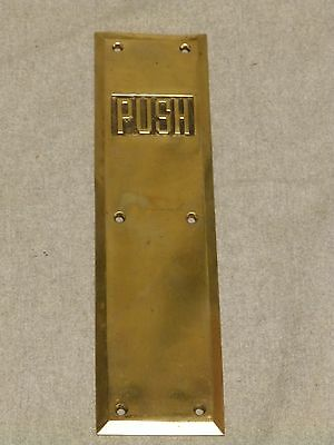 Vintage Brass Resturante Theater Door Push Plate Old Sarget Hardware 529-16