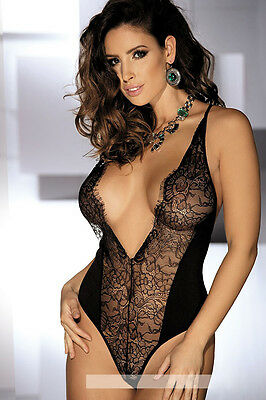 6146J Sexy V Shape Criss Cross Floral Lace Backless Teddy Skintight Lingerie New