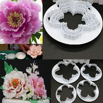 4pcs Peony Flower Fondant Mould Cake Cookies Embosser Cutter HB