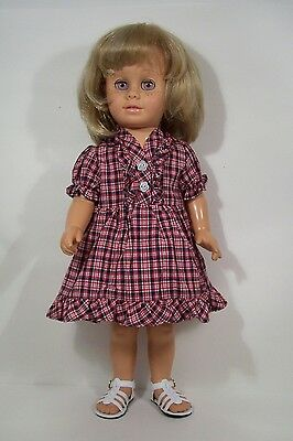 NAVY BLUE & RED Plaid Dress w/Ruffle Doll Clothes For Chatty Cathy (Debs)