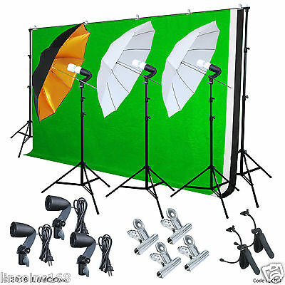 Photography Photo Studio Lighting 3 Backdrops Stand Muslin Photo Light Bulb Kit