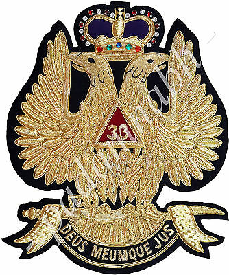 Masonic Aasr Scottish Rite 33 Degree Patch 12 Inch High For Jacket (Me-088 L)