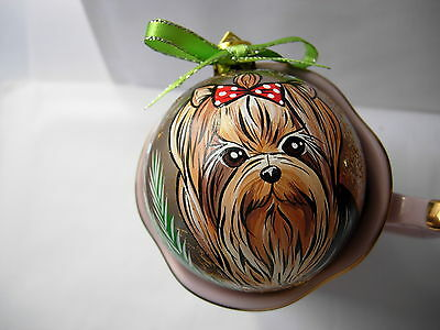 Yorkshire Terrier Handpainted Christmas Ornament-06