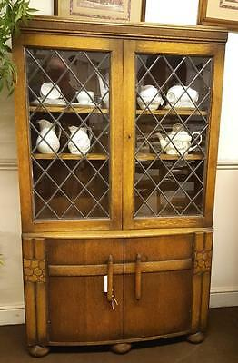 Antique Art Deco Glazed Top Oak Bookcase • £245.00