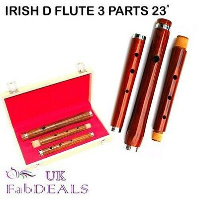 """Irish Wooden Flute Professional Rosewood D 3 Parts Natural Finish 23"""" Box Pack"""